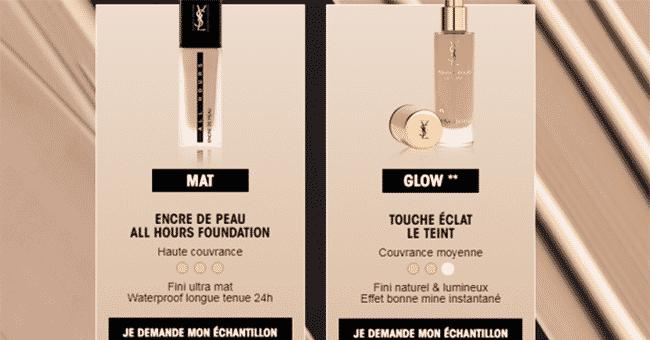 echantillons gratuits du Fond de Tein Yves Saint Laurent