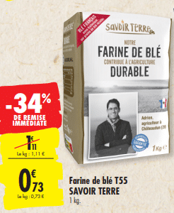 Promo de 0.38 € sur Farine de blé T55 Savoir Terre 1 kg