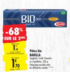 Promo de 0.88 € sur 2 Pates Bio Barilla