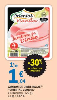 Promo de 045 € sur Jambon de Dinde Halal Oriental Viandes 1