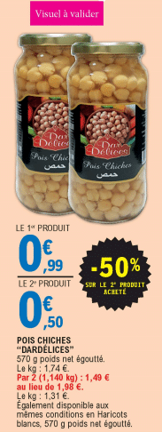 Promo de 046 € sur 2 Pots Pois Chiches Dar Delices 1