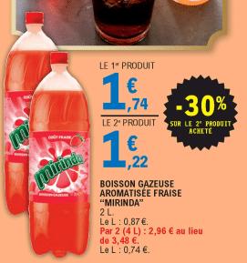 Promo de 052€ sur 2 Boissons Gazeuses aromatisees Fraise Mirinda 1
