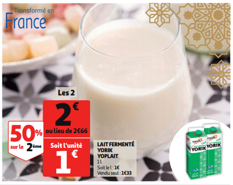 Promo de 066 € sur 2 lait fermente Yorik Yoplait 1