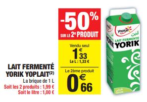 Promo de 067 € sur 2 Lait fermente Yorik Yoplait 1L 1