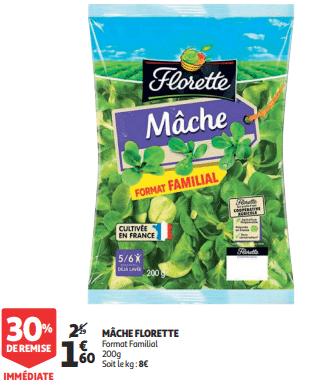 Promo de 069 € sur Mache Florette format familial 200 g 1