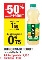 Promo de 075 € sur 2 Citronnade Ifruit 1 L 1