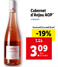 Promo de 076 € sur Cabernet d Anjou AOP 1