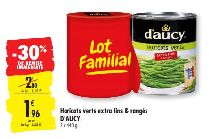 Promo de 084 € sur lot familial Haricots verts D Aucy 1