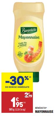 Promo de 084 € sur mayonnaise Benedicta 1