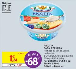 Promo de 085 € sur 2 Fromage Ricotta Casa azzura 1