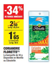 Promo de 085 € sur Coriandre Florette 1
