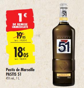 Promo de 1 € sur Pastis de Marseille Pastis 51 1