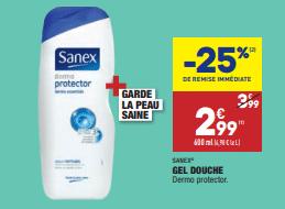 Promo de 1 € sur gel douche Sanex 1