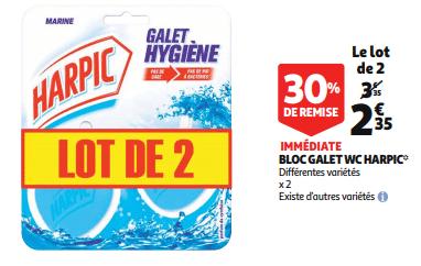 Promo de 1 € sur lot de 2 Bloc Galet WC Harpic 1