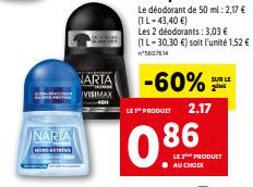Promo de 1 31 € sur Narta deodorant bille pour homme 1