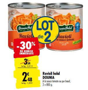 Promo de 1.06€ sur lot de 2 Ravioli Halal Dounia