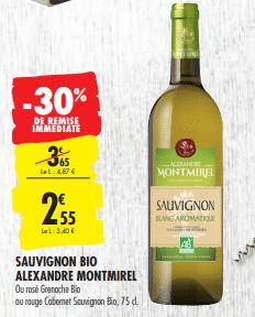 Promo de 1.1 € sur Sauvignon Bio Alexandre Montmirel