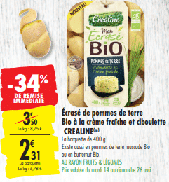 Promo de 1.19 € sur Ecrase de Pommes de Terre Bio Crealine