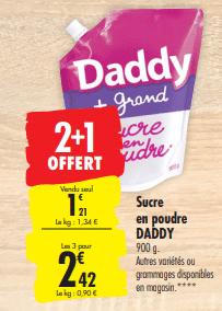 Promo de 1.21 € sur Pack de 3 Sucre en poudre Daddy