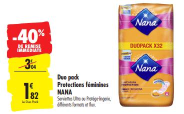 Promo de 1.22 € sur Duo pack protection feminines Nana