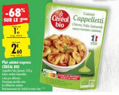 Promo de 1.34 € sur 2 Plat Cuisine Express Cereal Bio