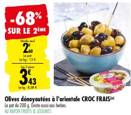 Promo de 1.77 € sur 2 Pots Olives denoyautees a l orientale CROC FRAIS