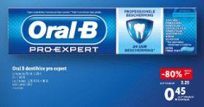 Promo de 1.8 € sur lot de 2 Dentifrice Oral B pro