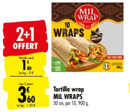 Promo de 1.80 € sur 3 paquets Tortilla Wrap Mil Wrap