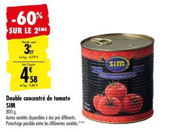 Promo de 1.96 € sur 2 lots Double concentre de Tomate Sim