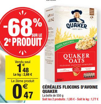 Promo de 101 € sur 2 Cereales flocons d avoine Quaker 1