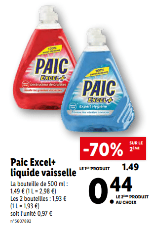 Promo de 105 € sur 2 Paic Excel Liquide Vaisselle 1