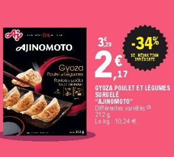 Promo de 112 € sur Gyoza poulet et Legumes Surgeles Ajinomoto 1