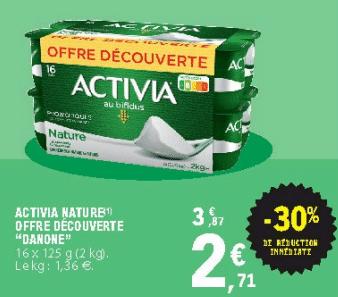 Promo de 116 € sur lot de 16 Activia Nature Offre Decouverte 1