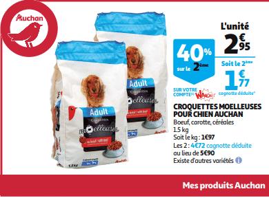 Promo de 118 € sur Croquettes Moelleuses pour chien Auchan 1