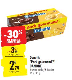 Promo de 12 € sur Danette Pack gourmand Danone 1