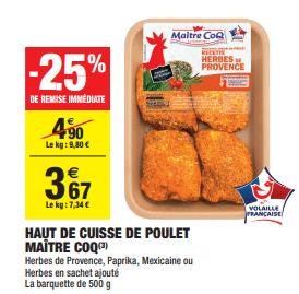 Promo de 123 € sur Haut de cuisse de poulet Maitre Coq 1