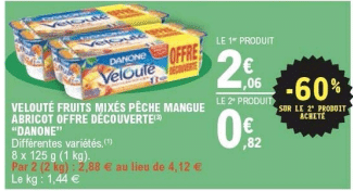Promo de 124 € sur 2 Packs Danone Veloute 1