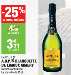 Promo de 124 € sur A O P Blanquette de Limoux Aimery 75 cl 1
