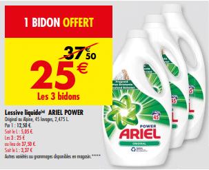 Promo de 125 € sur 3 bidons Lessive liquide Ariel Power 1