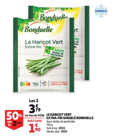 Promo de 127 € sur 2 paquets Haricot vert extra fin surgele Bonduelle 1