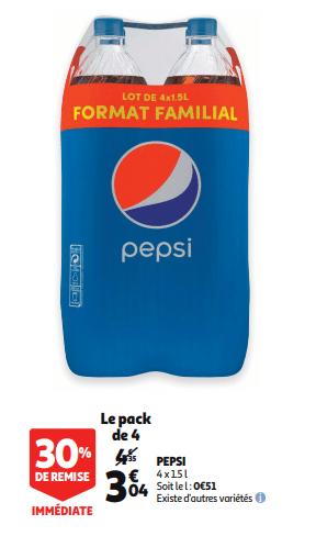 Promo de 131 € sur Pack de 4 Pepsi 1