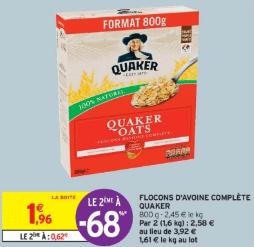 Promo de 134 € sur 2 Flocons d avoine complete Quaker 1