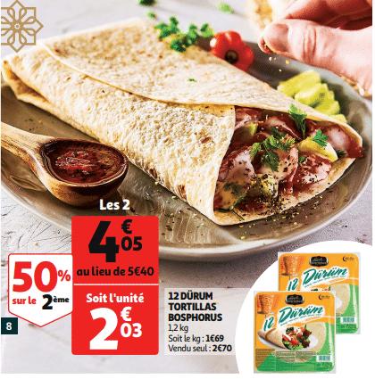Promo de 135 € sur 2 12 Durum Tortillas Bosphorus 1