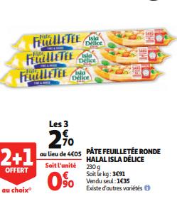 Promo de 135 € sur 3 Pates feuilletees ronde Halal Isla Delice 1