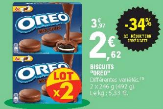 Promo de 135 € sur lot de 2 Biscuits Oreo differentes varietes 1