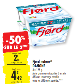 Promo de 148 € sur 2 lots de Fjord Nature Danone 1