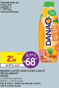 Promo de 15 € sur 2 Danao Boisson lactee sans sucre 1
