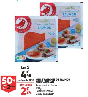 Promo de 15 € sur 2 paquets Mini Tranches de Saumon Fume Auchan 1
