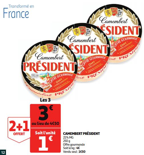 Promo de 150 € sur 3 Camembert President 1
