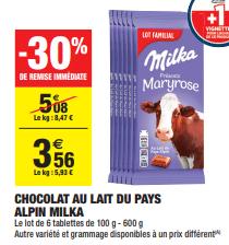 Promo de 152 € sur Milka Chocolat au Lait du Pays Alpin Lot Familial 1